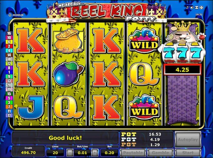 Reel King Potty slots sites - A Reel King slot machine with 3 progressive Jackpots. 7