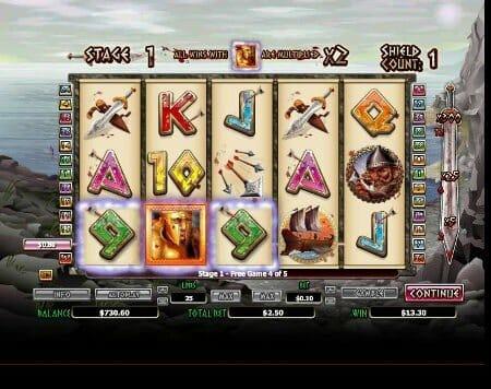 Screenshot image of 300 Shields slots game win feature