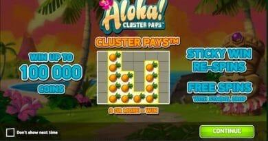 Screenshot image of Aloha Cluster slot game welcome screen