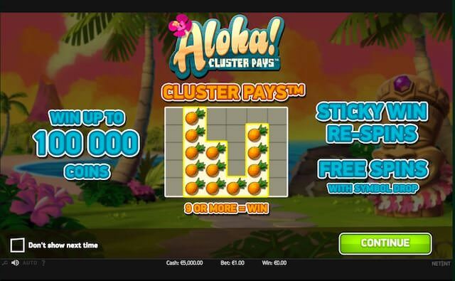 Aloha Cluster slots sites – Colossal Reels, free spins, fixed paylines & Bet levels.