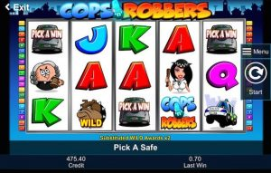 Screenshot image of Cops and Robbers slots bonus game activated