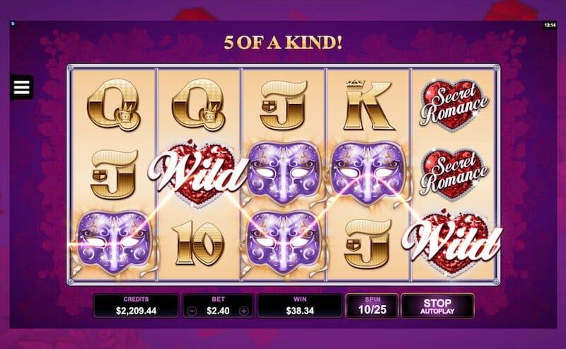 Screenshot image of Secret Romance slots Wild win