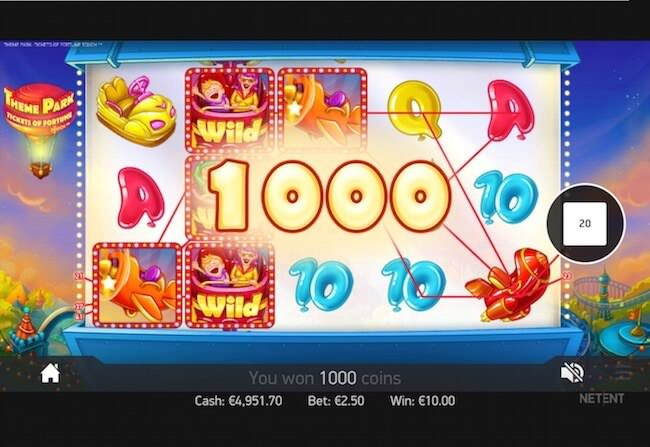 Screenshot image of Theme Park slots online win of 1,000