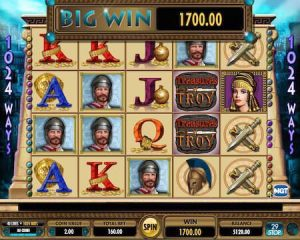 Screenshot image of Treasures of Troy slot machine big win 1700