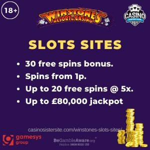 Banner image of the Winstones slots sites review showing the game's logo and the text: