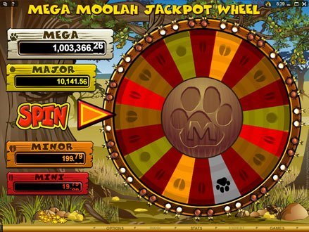 Screenshot image of the Jackpot Wheel in Mega Moolah slot machine