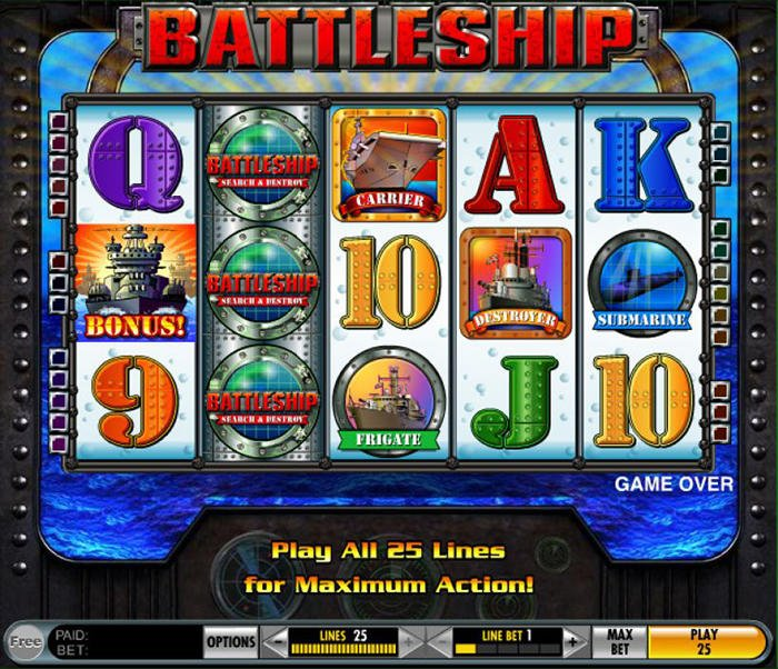 Screenshot image of battleship slot game