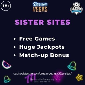 Banner image of the Dream Vegas sister sites review showing the casino's logo and the text: