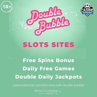 "Banner image of the Slot sites with Double Bubble online showing the game's logo and the text ""free spins bonus, daily free games and double daily jackpots."""