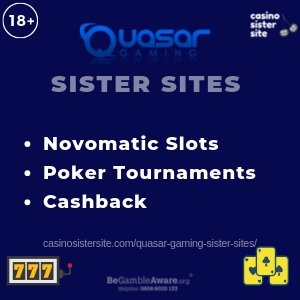 "Featured image for the Quasar Gaming sister sites article showing the brand's logo and the text: ""Novomatic Slots. Poker Tounaments. Cashback."""