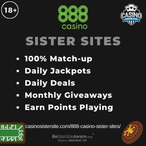 888 casino sister sites square banner with black background and the text: 100% match-up, daily jackpots, daily deals, monthly giveaways and earn points playing. the bottom left and right display the images of A baccarat table and a roulette wheel. 18+ symbol on the top left corner and the BeGambleAware.org logo with Helpline: 0808 8020133 is displayed on the bottom center of the image.