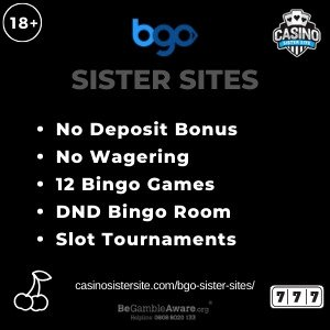 "Featured image for the BGO sister sites article showing the brand's logo and the text: ""No Deposit Bonus. No Wagering. 12 Bingo Games. DND Bingo Room. Slot Tournaments."""