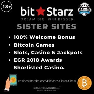 "Banner image of the BitStarz casino sister sites review showing the casino's logo and the text: ""100% welcome bonus, bitcoin games, slots, casino and jackpots, EGR 2018 awardsa shorlisted casino"""