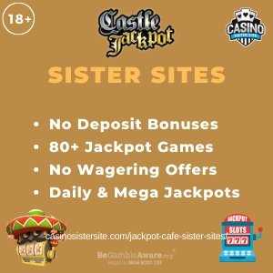"Featured image for the Castle Jackpot sister sites article showing the brand's logo and the text: ""No Deposit Bonuses. 80+ Jackpot Games. No Wagering Offers. Daily & Mega Jackpots."""