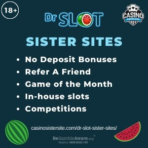 Banner image for the Dr slot sister sites review showing the logo of the casino brand and the text: