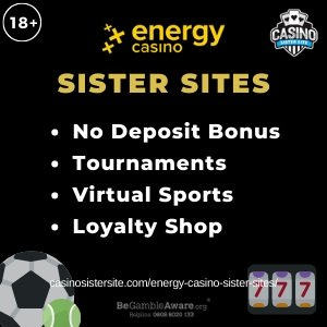 Energy Casino sister sites square banner with black background and the text: No deposit bonus, tournaments, virtual sports and loyalty shop. the bottom left and right display the images of A football with a tennis ball and three reels showing the numbers 777. 18+ symbol on the top left corner and the BeGambleAware.org logo with Helpline: 0808 8020133 is displayed on the bottom center of the image.