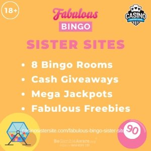 Fabulous Bingo sister sites square banner with yellow background and the text: 8 bingo rooms, cash giveaways, mega jackpots and fabulous freebies. the bottom left and right display the images of A bingo ball drawer and a pink bingo ball. 18+ symbol on the top left corner and the BeGambleAware.org logo with Helpline: 0808 8020133 is displayed on the bottom center of the image.