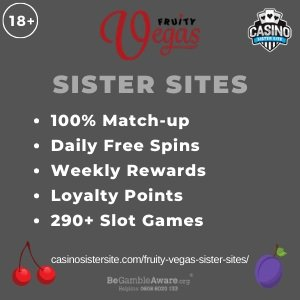 "Featured image for the Fruity Vegas sister sites article showing the brand's logo and the text: ""100% Match-up. Daily Free Spins. Weekly Rewards. Loyalty Points. 290+ Slot Games."""