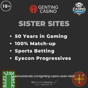 Genting casino sister sites square banner with Dark green background and the text: 50 years in gaming, 100% match-up, sports betting and Eyecon progressives the bottom left and right display the images of A baccarat table and a roulette wheel. 18+ symbol on the top left corner and the BeGambleAware.org logo with Helpline: 0808 8020133 is displayed on the bottom center of the image.
