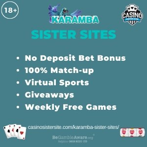 """Featured image for the Karamba sister sites article showing the brand's logo and the text: """"No Deposit Bet Bonus. 100% Match-up. Virtual Sports. Giveaways. Weekly Free Games."""""""
