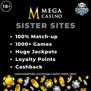 "Featured image for the sister sites article showing the brand's logo and the text: ""100% Match-up. 1000+ Games. Huge Jackpots. Loyalty Points. Cashback"""