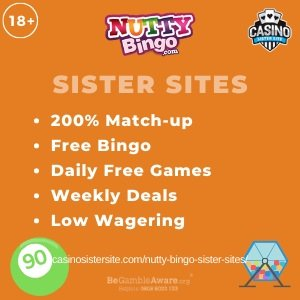 Nutty Bingo sister sites square banner with orange background and the text: 200% match-up, free bingo, daily free games, weekly deals and low wagering. the bottom left and right display the images of A bingo ball and a bingo ball drawer 18+ symbol on the top left corner and the BeGambleAware.org logo with Helpline: 0808 8020133 is displayed on the bottom center of the image.