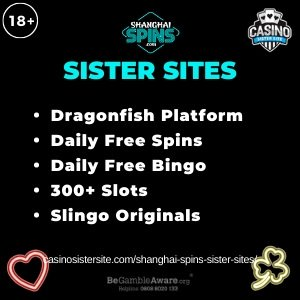 "Featured image for the Shangai Spins sister sites article showing the brand's logo and the text: ""Dragonfish Platform. Daily Free Spins. Daily Free Bingo. 300+ Slots. Slingo Originals."""
