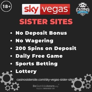 Sky Vegas sister sites square banner with Dark green background and the text: No deposit bonus, no wagering, 200 spins on deposit, daily free game, sports betting and lottery. the bottom left and right display the images of Casino chips 18+ symbol on the top left corner and the BeGambleAware.org logo with Helpline: 0808 8020133 is displayed on the bottom center of the image.