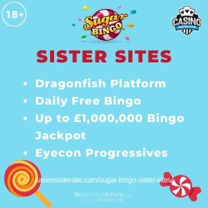 Sugar Bingo sister sites	square banner with Light blue background and the text:	Dragonfish platform, daily free bingo, up to £1,000,000 bingo jackpots and Eyecon progressives.	the bottom left and right display the images of 	A candy lollipop and a caramel candy	18+ symbol on the top left corner and the BeGambleAware.org logo with Helpline: 0808 8020133 is displayed on the bottom center of the image.