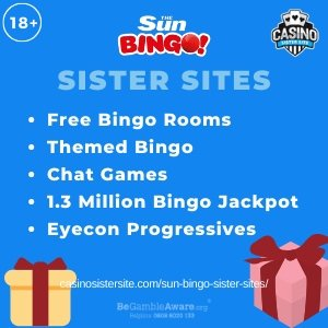 "Featured image for the Sun Bingo sister sites article showing the brand's logo and the text: ""Free Bingo Rooms. Themed Bingo. Chat Games. 1.3 Million Bingo Jackpot. Eyecon Progressives."""