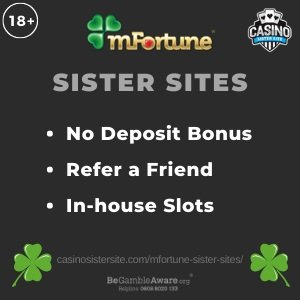 "Banner image for the Mfortune sister sites review showing the logo of the casino brand and the text: ""Mfortune sister sites. No deposit bonus, refer a friend, In-house slots."""