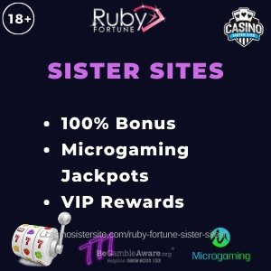 "Banner image for the Cashmo sister sites review showing the logo of the casino brand and the text: ""Ruby Fortune sister sites. 100% bonus. Microgaming jackpots. VIP rewards."""