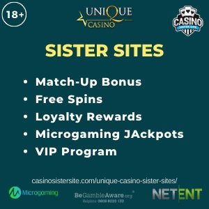 "Banner image for the Unique casino sister sites review showing the logo of the casino brand and the text: ""Unique sister sites. match-up bonus. free spins. loyalty rewards. microgaming jackpots. vip rewards."""