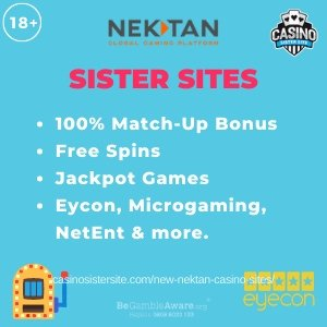 Banner image of the New Nektan Casino Sites review showing the brand's logo and the following text in bulletpoints: free spins, free bingo rooms, eyecon, microgaming, netent and more.