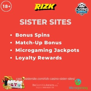 Banner image of the Rizk Casino sister sites showing the casino's logo and the text 'Sister Sites'. Below the text reads: bonus spins, match-up bonus, microgaming jackpots, loyalty rewards.