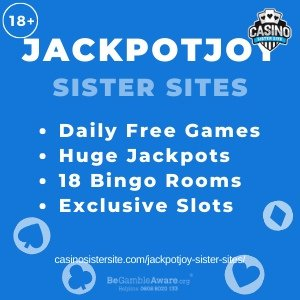 Jackpotjoy Sister Sites: Daily free games, huge jackpots, 18 bingo rooms & slots.