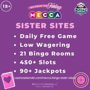"Mecca Bingo Sister Sites banner with the header text: Mecca Bingo Sister Sites. Below the text reads: ""Daily free game, low wagering, 21 bingo rooms, 450+ slots and 90+ jackpots."""
