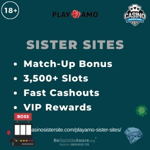 "Banner image for the Playamo sister sites review showing the text: ""Match-up bonus, 3,500+ slots, fast washouts, vip rewards."""
