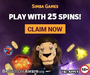 Banner image for Simba Game sister sites showing 25 free spins as welcome bonus