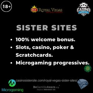 "Banner image of the Royal Vegas sister sites review showing the text: ""Royal Vegas sister sites. 100% welcome bonus. Slots, casino, poker & Scratchcards. Microgaming progressives."""