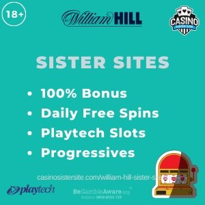 """Feature iamge of the William Hill Sister Sites review showing the logo of the casino brand and the text: """"William Hill sister sites. 100% match-up bonus. Daily free spins. Playtech slots. Progressive jackpots."""""""