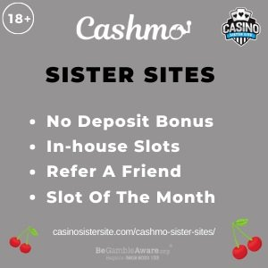 Banner image for the Cashmo sister sites review showing the logo of the casino brand and the text: