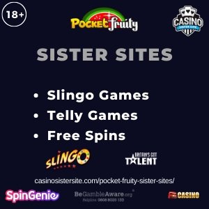 Featured image of the Pocket Fruity Sister Sites showing the casino's logo and the text 'Sister Sites'. Below the text reads: Slingo Originals, Telly Games, free spins.
