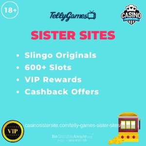 "Featured image for the Telly Games sister sites article showing the brand's logo and the text: ""Slingo Originals. 600+ Slots. VIP Rewards. Cashback Offers."""