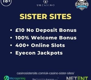 UK Casino Sister Sites – Get £10 free no deposit bonus!