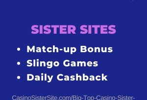Banner image for the Big top Casino sister sites article showing the casino's logo and the text: Match-up bonus, Slingo gmes and Daily cashbacks.