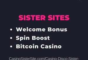 "Featured image for the Casino Disco sister sites article showing the brand's logo and the text: ""Welcome Bonus. Spin Boost. Bitcoin Casino."""