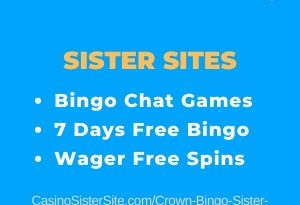 "Featured image for the Crown Bingo sister sites article showing the brand's logo and the text: ""Bingo Chat Games. 7 Days Free Bingo. Wager Free Spins."""
