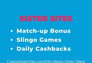Banner image for the Kitty Bingo sister sites article showing the brand's logo and the text: Match-up bonus, Slingo games and Daily cashbacks.