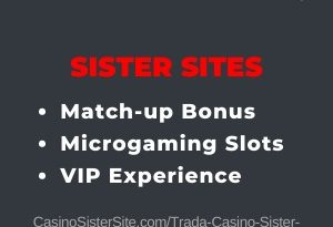 "Featured image for the Trada Casino sister sites article showing the brand's logo and the text: ""100% welcome bonus. No deposit sign-up bonus. Loyalty Program."""
